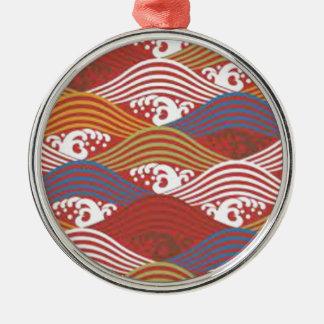 JAPAN WAVE SAMURAI Silver-Colored ROUND DECORATION