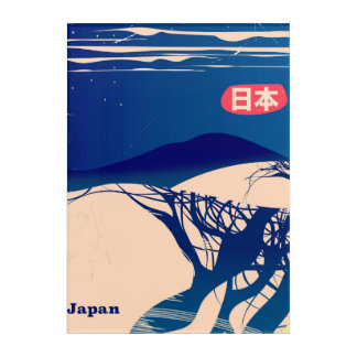 Japan winter Trees vintage airline poster. Acrylic Print