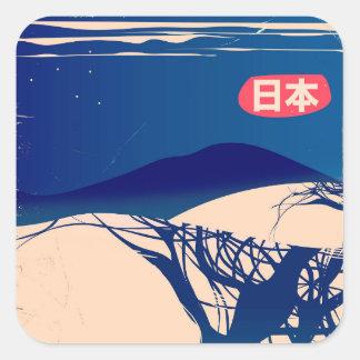 Japan winter Trees vintage airline poster. Square Sticker