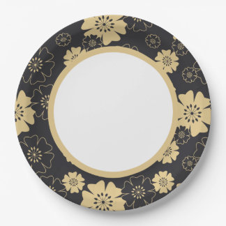 Japan. Yellow Floral Flowers. Paper Plate