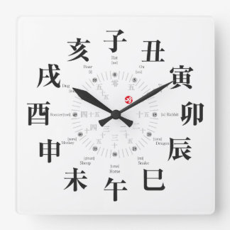 Japan zodiac signs style [white face] square wall clock
