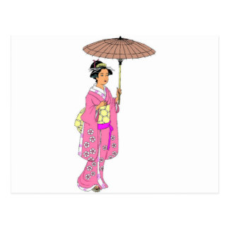 Japanes lady with umbrella postcard