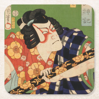 Japanese actor (#1) (Vintage Japanese print) Square Paper Coaster