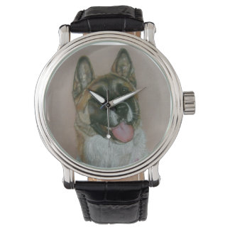 Japanese/American akita pinto and white portrait Watch