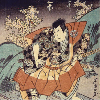Japanese Art - A Samurai In Combat Stance Standing Photo Sculpture