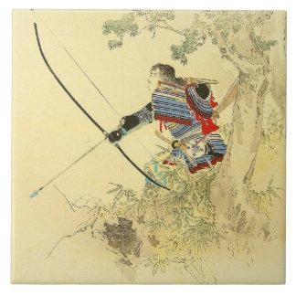 Japanese Art - A Samurai With A Longbow And Arrows Tile
