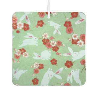 Japanese Art: Green Sakuras and Rabbits Car Air Freshener