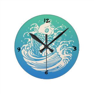Japanese Art Koi Fish Blue Vintage Design Round Clock