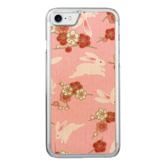 Japanese Art: Pink Sakuras & Rabbits iPhone7 Maple Carved iPhone 8/7 Case