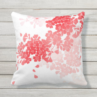 Japanese Art Red & Pink Flowers floral Outdoor Cushion