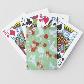 Japanese Art - Sakuras and Rabbits - Playing Cards