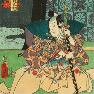 Japanese Art - Samurai Holding A Katana Sword Standing Photo Sculpture