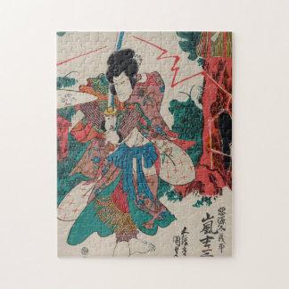 Japanese Art - Samurai With Sword In Kabuki Show Puzzles