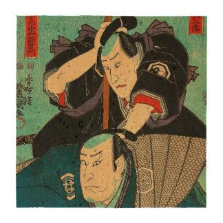 Japanese Art - Two Samurais Spying On Enemies Beverage Coasters