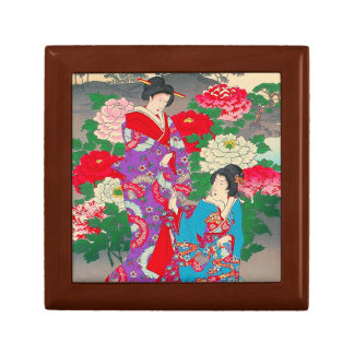 Japanese Art  - Two Women Talking In Rose Garden Small Square Gift Box