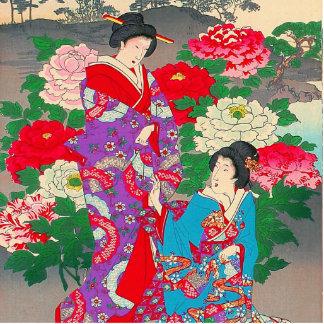 Japanese Art  - Two Women Talking In Rose Garden Standing Photo Sculpture