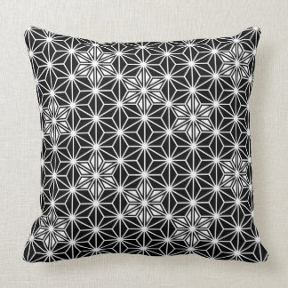 Japanese Asanoha pattern - black and white Cushion