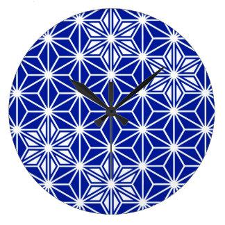 Japanese Asanoha pattern - cobalt blue Wall Clock