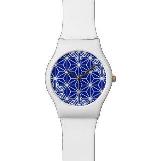 Japanese Asanoha pattern - cobalt blue Watch