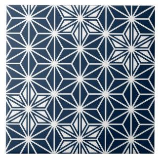 Japanese Asanoha pattern - indigo blue & white Large Square Tile