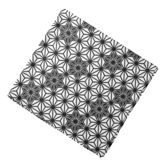 Japanese Asanoha pattern - white and black Bandannas
