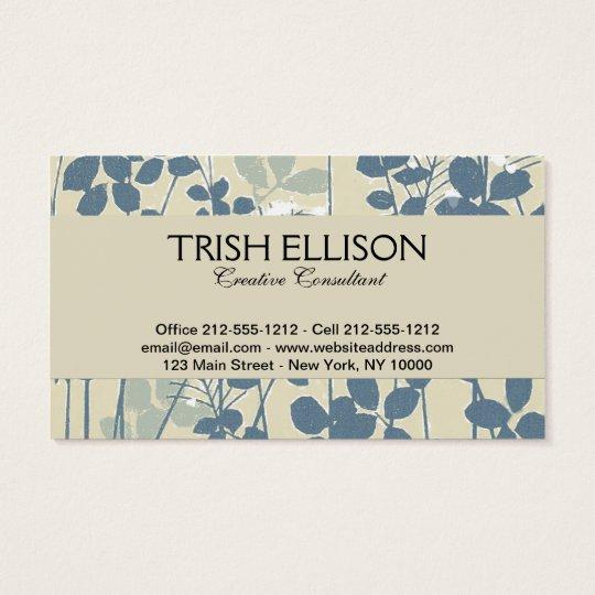 Japanese Asian Art Floral Blue Flower Print Business Card