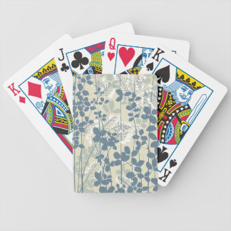 Japanese Asian Art Floral Blue Flowers Print Bicycle Playing Cards