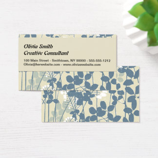 Japanese Asian Art Floral Blue Flowers Print Business Card
