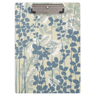 Japanese Asian Art Floral Blue Flowers Print Clipboard