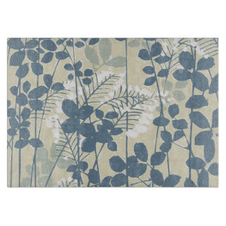 Japanese Asian Art Floral Blue Flowers Print Cutting Board
