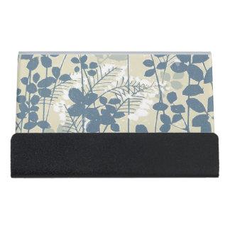 Japanese Asian Art Floral Blue Flowers Print Desk Business Card Holder