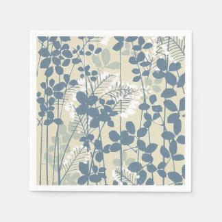 Japanese Asian Art Floral Blue Flowers Print Disposable Napkin