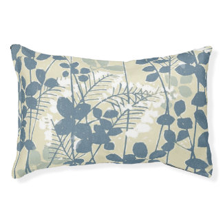 Japanese Asian Art Floral Blue Flowers Print Pet Bed