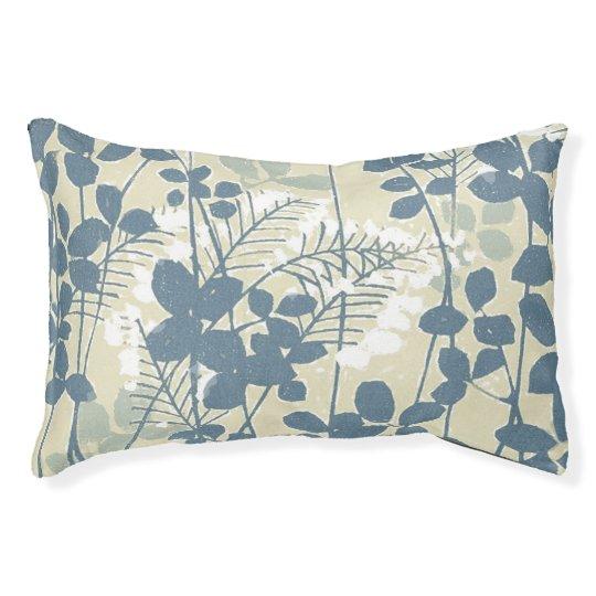 Japanese Asian Art Floral Blue Flowers Print Pet Bed