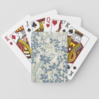 Japanese Asian Art Floral Blue Flowers Print Playing Cards