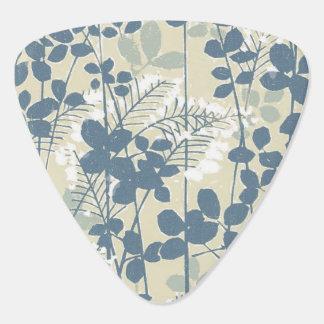 Japanese Asian Art Floral Blue Flowers Print Plectrum