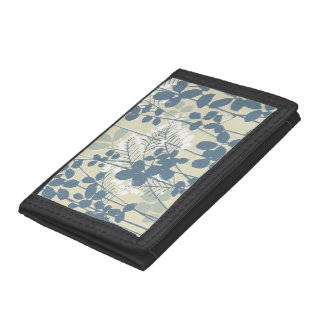 Japanese Asian Art Floral Blue Flowers Print Trifold Wallet