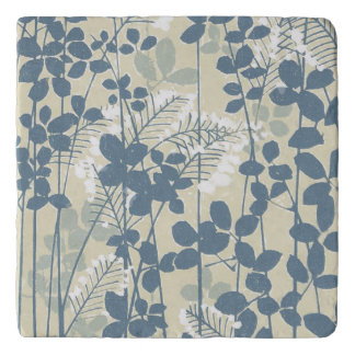 Japanese Asian Art Floral Blue Flowers Print Trivet