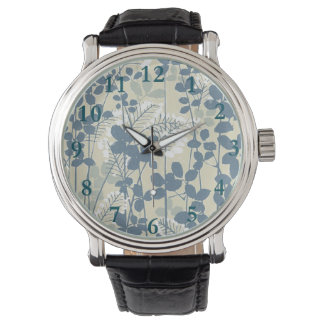 Japanese Asian Art Floral Blue Flowers Print Watch