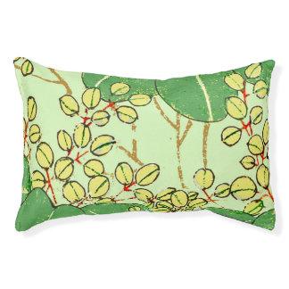Japanese Asian Green Art Print Floral Leaves