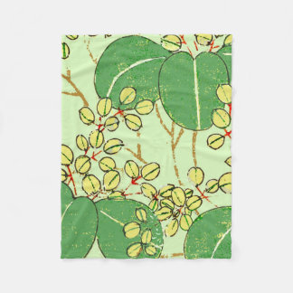 Japanese Asian Green Art Print Floral Leaves Fleece Blanket