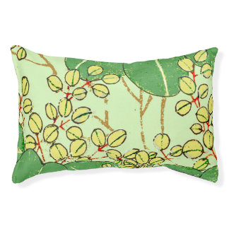Japanese Asian Green Art Print Floral Leaves Pet Bed