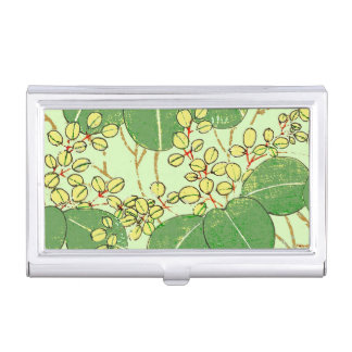 Japanese Asian Leaves Art Print Floral Design Business Card Holder