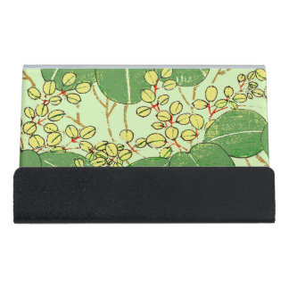 Japanese Asian Leaves Art Print Floral Design Desk Business Card Holder
