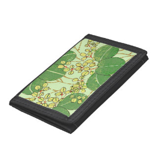 Japanese Asian Leaves Art Print Floral Design Trifold Wallets