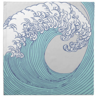 Japanese Asian Surf Wave Art Print Ocean Beach Napkin