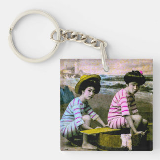 Japanese Bathing Beauties Vintage Beach Babes Key Ring