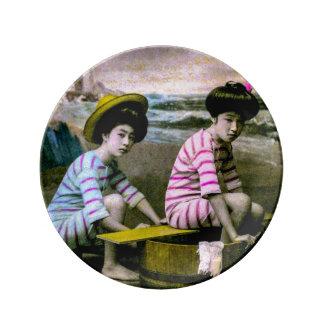Japanese Bathing Beauties Vintage Beach Babes Plate