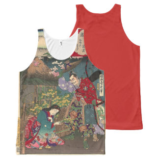 Japanese Beautiful Geisha Samurai Art All-Over Print Singlet