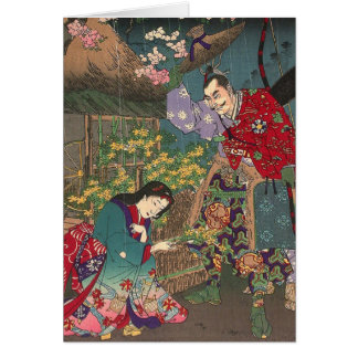 Japanese Beautiful Geisha Samurai Art Card